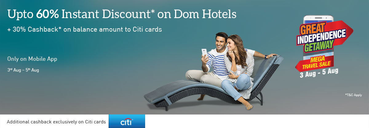 Upto 60% Instant Discount + 30% cashback Domestic Hotels on balance amount to citi cards (Valid on Mobile App) – Shop Online at Makemytrip.com